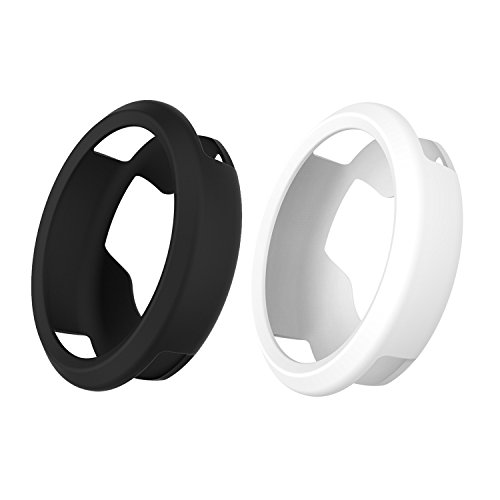 For Garmin Vivomove hr Watch Case Cover,RunTech Slim Flexible Soft Silicone Protective Case Cover Protector Sleeve for Vivomove HR Band Cover (Black&White) Black Silicone Sleeve Cover