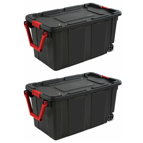 Sterilite 40-Gallon/151-Liter Wheeled Industrial Tote in Black, Case of 2 (40-Gallon) (Plastic Storage Containers With Wheels And Handle)