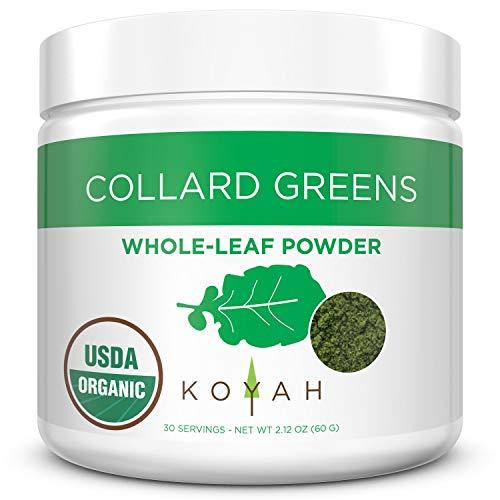 KOYAH - Organic USA Grown Collard Greens Powder (Equivalent to 15 Cups Fresh): Freeze-dried, Whole-Leaf Powder