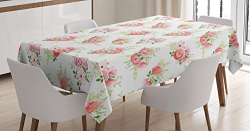 Lunarable Shabby Chic Tablecloth by, Rose Ranunculus Magnolia and Peony Romantic Bouquet of Spring Flowers, Dining Room Kitchen Rectangular Table Cover, 60 W X 84 L Inches, Pale Pink Fern Green