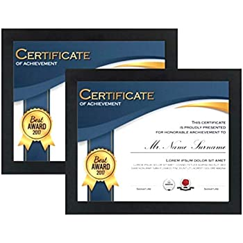 8.5 x11 Diploma Picture Frames (2-Pack) - Real Glass Front - Displays Certificates, Documents, and 8.5x11 Photos - Wood - Hang Vertically or Horizontally - Multi-Pack Degree Award Standard Paper