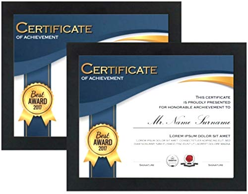 Tasse Verre 8.5 x 11 Certificate Frames (2-Pack) - Real Glass Front - Displays Documents 8.5x11 Pictures - Wood - Hang Vertically or Horizontally - Multi-Pack Degree Award Standard Paper