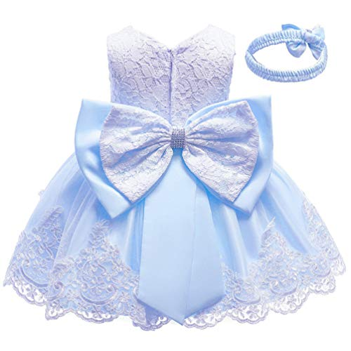 KILO&METERS Blue Formal Prom Summer Wedding Girls Dresses A-line Sleeveless Knee Length Tutu Ruffle Kids Dress Princess Christeing Birthday Party Baby Dress 18M Light Blue -