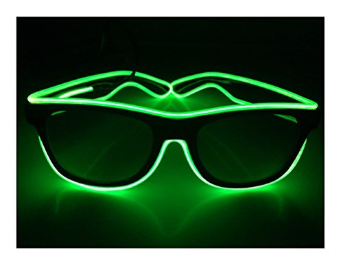[Green Square wire glasses N Light up glasses Perfect for your Halloween Party Christmas Music Festival Rave Parties Gifts, Fashion , Limited Collection A Night Out! Slow Blinking Fast] (Naruto Cosplay Costumes Amazon)