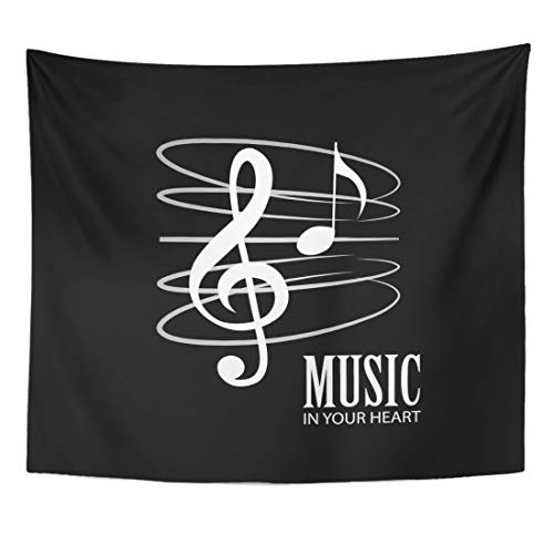 (Semtomn Tapestry Bass Musical White Music Staff Treble Clef Notes Black Home Decor Wall Hanging for Living Room Bedroom Dorm 60x80 Inches )