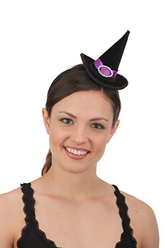 26496 Mini Witch Hat On Headband Purple Band Fuax Rhinestone (Sexy Rhinestone Witch Costumes)