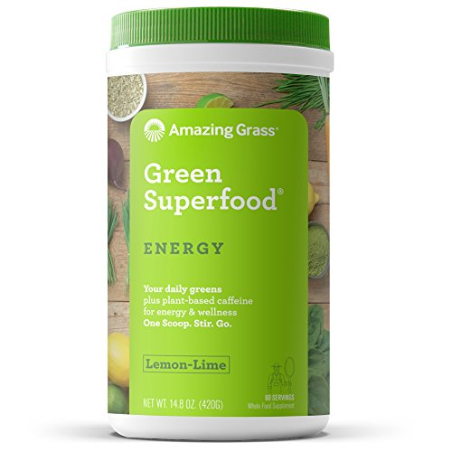 Amazing Grass Energy Green Superfood Organic Powder with Wheat Grass and Greens, Natural Caffeine with Yerba Mate and Matcha Green Tea, Flavor: Lemon Lime, 60 Servings