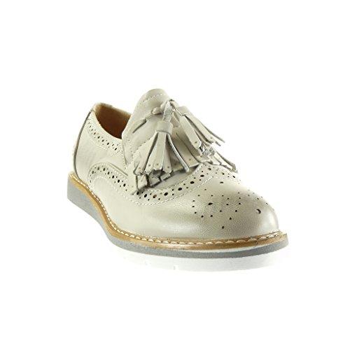 Angkorly - Zapatillas de Moda zapato derby Mocasines slip-on mujer fleco pompom perforado Talón Plataforma 3 CM - Gris