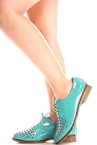 Jeune À Haute Voix Clouté Accent Lacé Décontracté Oxford Chaussures Plates Sarcelle