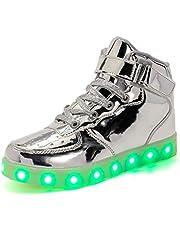 Warmcloudomain Unisex Kinderen LED Schoenen Mode Sneakers Jongens Meisjes USB Opladen Knipperende Sneakers Laarzen 7 Kleuren Lichtgevende Hoge Top Sneakers