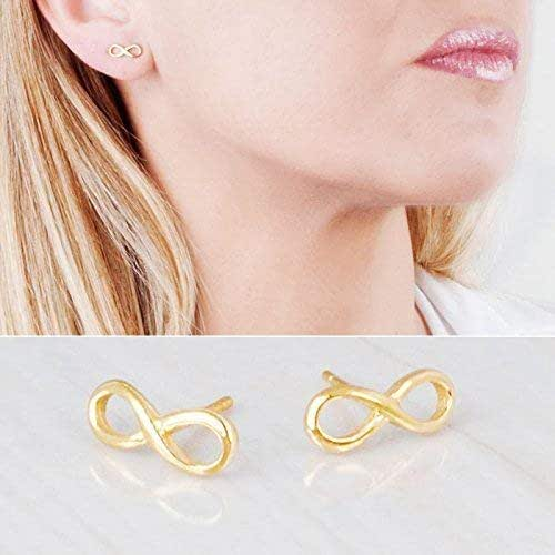 Amazon Com Tiny Gold Infinity Stud Earrings Designer