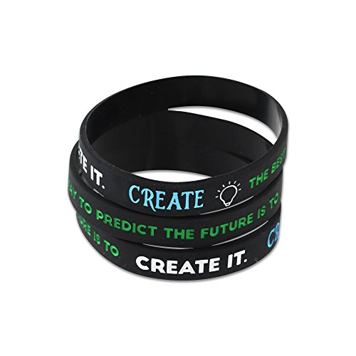 Inspirational Silicone Wristbands - Bulk & Assortment Packs - CREATE - BE YOURSELF - CHANGE THE WORLD - DREAM (CREATE - 10 Bracelets) (World Soccer Bracelet)