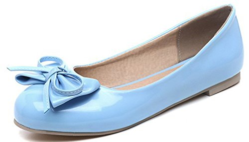 Women's Round Toe Flat Loafers Sweet Casual Shoes with Bow Blue - 8
