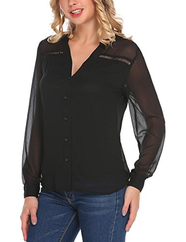 (Halffle Women's Chiffon Blouse Top V Neck Cuffed Long Sleeve Solid Button Down Chiffon Blouse Top (Black,L))