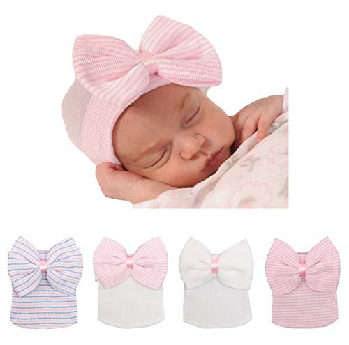 (Xinshi Newborn Hat Soft Turban Baby Girl Big Bow Knot Cap (Bow 4PCS))