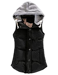 YMING Women's Quilted Padding Puffer Vest with Removable Hooded