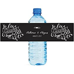 To Love Laughter & Happily Ever After Wedding Anniversary Engagement Party Bridal Shower Water Bottle labels Birthday Party Bridal Shower Easy to Use Self Stick Labels