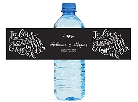 to love laughter happily ever after wedding anniversary engagement party bridal shower water bottle labels