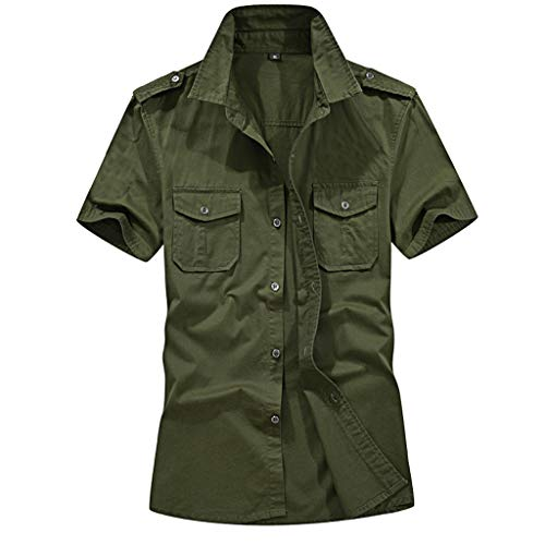 Men's Casual Fashion Military Pure Color Pocket Short Sleeve Loose T-Shirt Tops Army Green