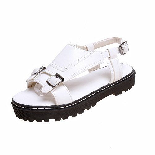 VogueZone009 Solid Toe Bowknot Sandals with Buckle Women's Material Heels Low Open White Soft qq1Sr
