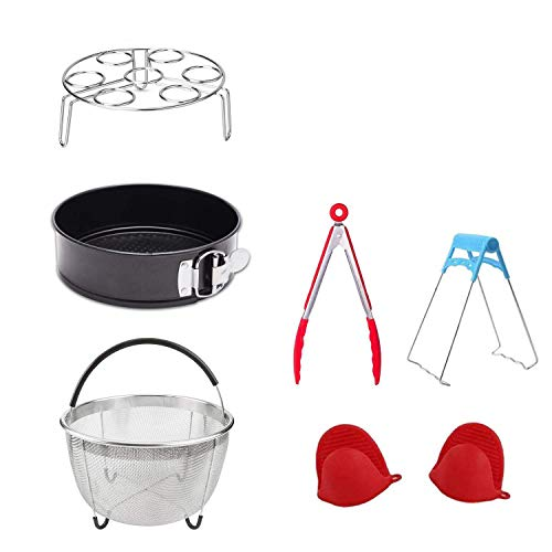 (Accessories for Pressure Cooker with Steamer Basket, Egg Steamer Rack, Non-stick Springform Pan,Food Tong, Bowl Dish Clip, 1 Pair Silicone Cooking Pot Mitts 7)