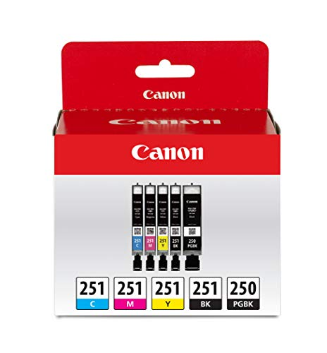 Canon PGI-250XL Black High Yield and CLI-251 B/C/M/Y Black & Color Ink Cartridges (6432B011), Combo 5/Pack (Canon Pixma 100 Black Ink)