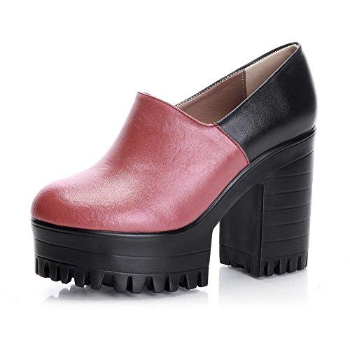 Amoonyfashion high Ympäri Naisten Suljetun Punainen Materiaali Toe Nilkka Korkokenkiä kengät Pehmeä Pumppujen wxwTr8F