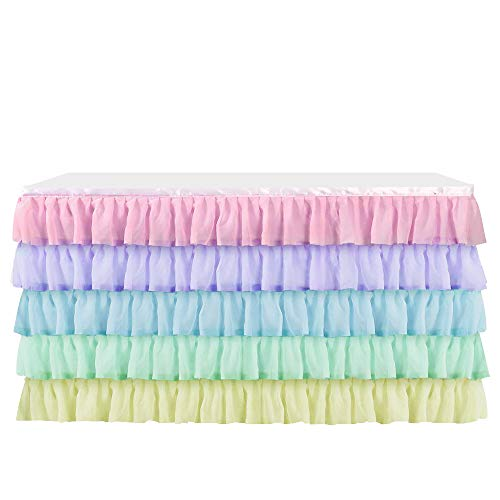Table Skirt Table Cloth for Rectangle or Round Table,Tulle Table Skirting for Wedding,Birthday,Baby Shower,Party&Home Decoration (Multicolour, L 6(ft) H 30in) (Rainbow Tablecloth Round)