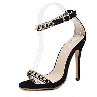 LvYuan sandalias de los zapatos del club del verano vestido de la PU de la cadena del talón de estilete Black