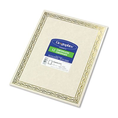 Geographics 44407 Foil Stamped Award Certificates, 8-1/2 x 11, Gold Serpentine Border, 12/Pack - Geographics Foil