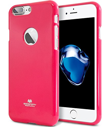 iPhone 7 Plus Case, [Thin Slim] GOOSPERY [Flexible] Color Pearl Jelly Rubber TPU Case [Lightweight] Bumper Cover [Impact Resistant] for iPhone 7 Plus (HOT Pink) IP7P-JEL-HPNK ()