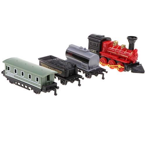 B Baosity 合金製 ダイキャストカー レトロ 蒸気機関車 プルバックカーセット 子供おもちゃ ギフト 4色 - レッド