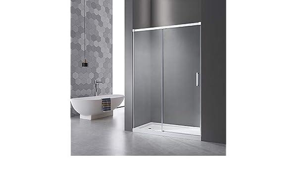 Mampara de ducha de 100 cm, puerta corredera con sistema de apertura de puerta, sin perfil de aluminio inferior, cristal Nano ESG de 6 mm, altura: 195 cm, 5 cm ...
