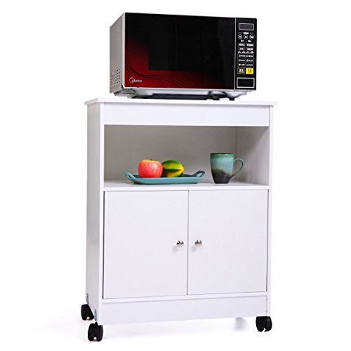 "GJH One Microwave Storage Cabinet Rolling Cart Shelf w/Wooden Kitchen Drawer 24""x14.60""x30.80"""