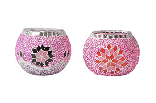 Oriental Lights Handmade Turkish Mosaic Candle Holders (Comes in Pairs of Two) (Egyptian, Arabian, Moroccan) (Pink) - Oriental Glass Candle Holder