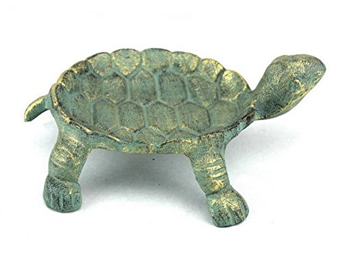 Handcrafted Decor K-1415-bronze Antique Bronze Cast Iron Standing Turtle Plate, 9 in.