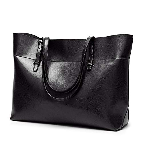 Fashion Arrivals Leather Women Bag Bucket Shoulder Bags Solid Big Handbag Large Capacity Top-Handle Bags,Black2,30X35X13Cm ()