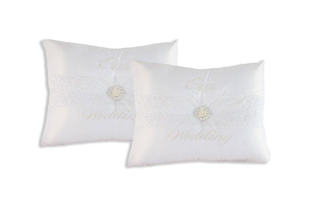 Our Wedding Kneeling Pillow. Set of 2 Pillows 14X17X3.5 in C2101 (White)
