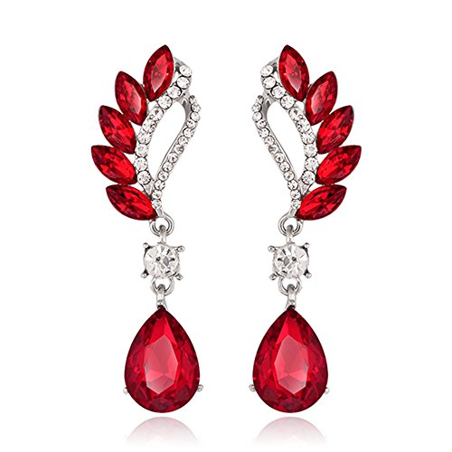 Danbihuabi Fashion Crystal Rhinestone Glass Drop Earring Jewelry(red,blue,purple,green,white) (Drop Glass Dangling Earrings)