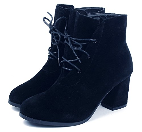 Womens Pointed Shoes Chunky Closed Black Ankle Toe Boots AgeeMi Suede Heel Lace up SU5w6xSnq
