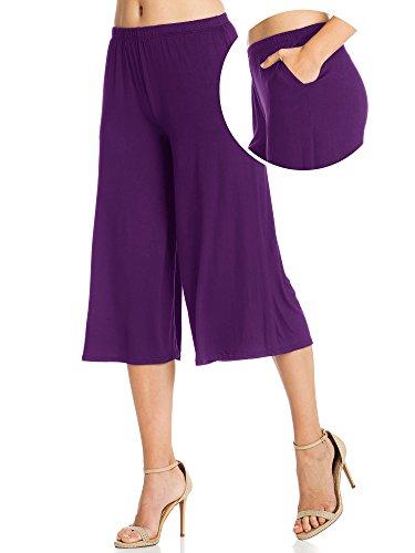 FACA Womens Elastic Waist Jersey Culottes Capri Length Pants with Side Pockets (XXXX-Large, (Purple Capri Pants)