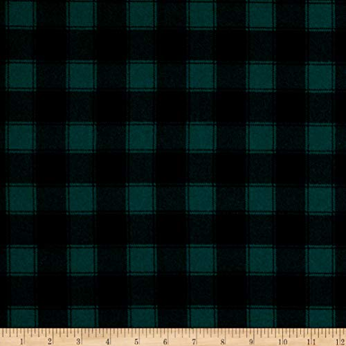 Timeless Treasures Flannel Buffalo Check Green Fabric by The Yard
