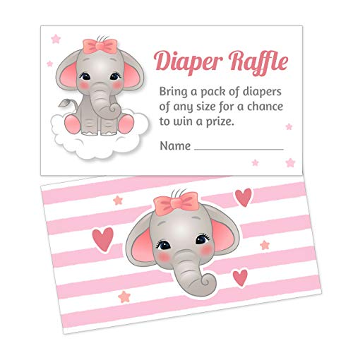 Pink Elephant Diaper Raffle Tickets - Girl Baby Shower Games Ideas Activities - Invitation Inserts - 25 Cards]()