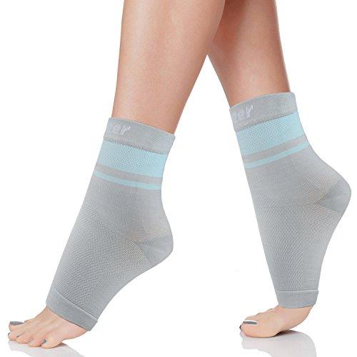 Trideer Foot Compression Sleeve (Grau+Blau, L)