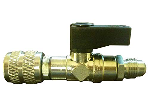 Refrigerant Guys Adapter R410a, R134a, R22 (1/4'' F Flare) X (1/4'' M SAE) with Shut Off Valve by Refrigerant Guys