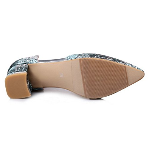 TAOFFEN Mujer Sandalias Moda Tacon Ancho Tacon Medio Al Tobillo Zapatos Gris