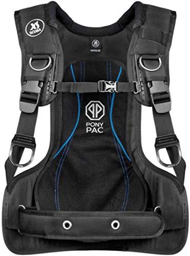 XS Scuba Pony Pac Scuba Tank Harness, Black, Small, waist 25