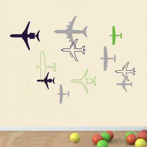 (Planes Fighter Wall Decal Boys Room Sticker Children Playroom Vinyl Wall Art Airplane Wall Decal Graphics (Navy blue+lime-tree green+slate gray,m))