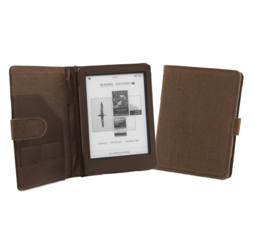 Cover-Up Kobo Glo eReader Natural Hemp Cover Case with sleep/Wake Function (Book Style) - Cocoa Brown