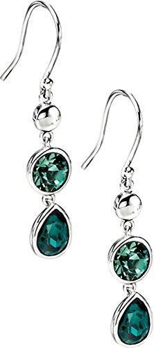Elements Silver Womens Teardrop Drop Earrings - Silver/Green